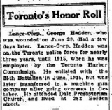 Hadden George (Toronto honour roll, August 1916)