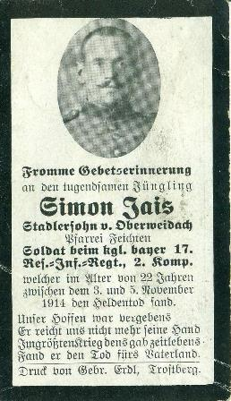 memorial card Simon Jais