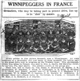 Van Neste Richard (article The Winnipeg Tribune, 11 April 1917; Van Neste is on the back row left, his name is wrongly spelled in the article)