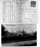 Post card sent by his wife while he was in the hospital in England