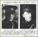 Allan John (on the left, Calgary Herald, September 1916)